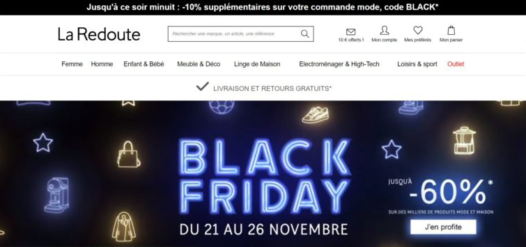 Template page d'accueil Black Friday e-commerce