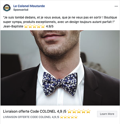 Publicité Facebook Le Colonel Moutarde