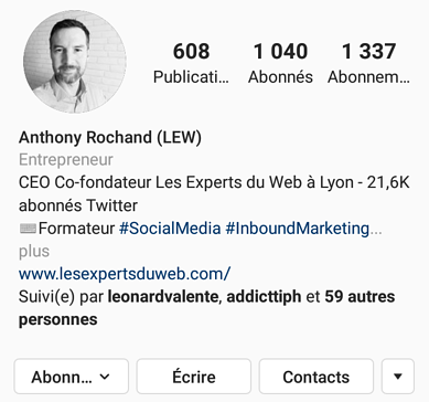 Biographie Instagram